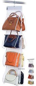 DomoPak clear hanging handbag purse bag wardrobe storage organiser 8 pockets