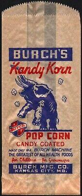 Vintage bag BURCHS KANDY KORN popcorn elephant pic Kansas City Missouri n-mint - Kandy Korn