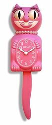 Classic Vintage Retro Kit-Cat Klock 15 1/2 Strawberry Pink Lady Clock Rolling