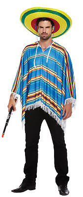 Adult Blue Poncho Costume - Fancy Dress Cowboy Bandit Stag Do Accessory - Space Cowboy Costume