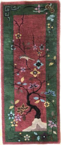 Antique Art Deco - 1920s Art Nouveau Rug - Chinese Oriental Carpet - 2 X 4.10 Ft