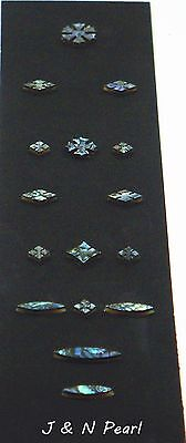 Green Abalone Heart 45 Snowflake Set for Martin Style Guitar Fingerboard Inlay - Inlay Abalone Fingerboard