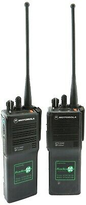MOTOROLA MTS2000 VHF 5 WATT WALKIE-TALKIE TWO WAY RADIOS & GENUINE SPEAKER MIC'S