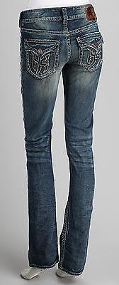 1921 Handcrafted Lt Wash Boot Cut Cotton Blend Jeans Pocket Logo size 24-CL0351 1921 Jeans Cotton Jeans