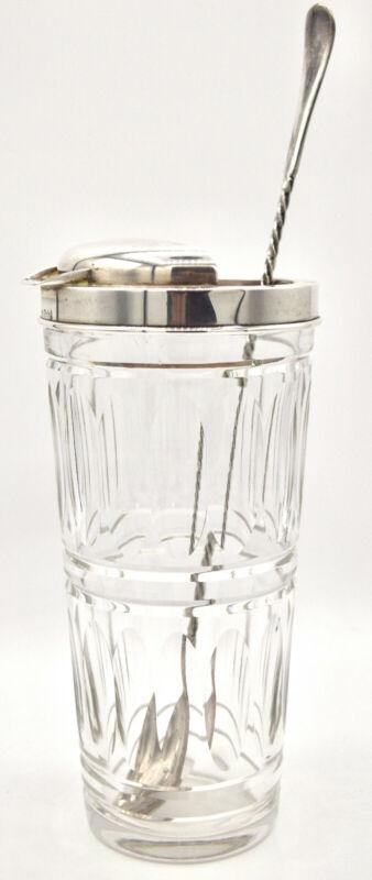 """Hawkes Sterling Silver Crystal Cocktail Shaker Stirrer 8.5"""" Vintage"""