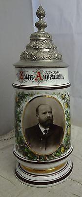 alter Portrait Porzellan Bierkrug Konsumverein Augsburg sehr schön
