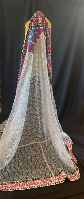 Uzbek Vintage Handmade LACE Embroidered Bridal VEIL
