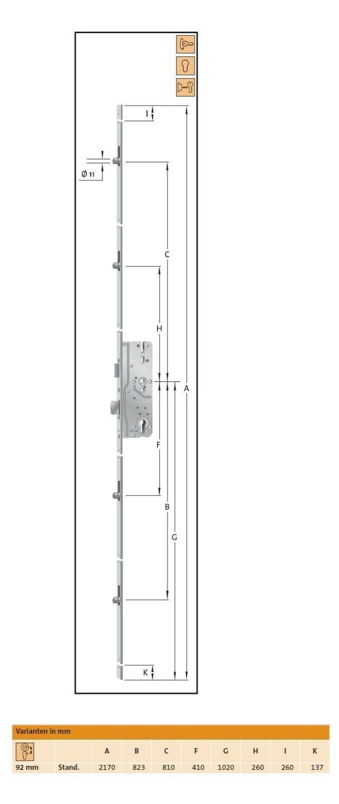 KFV Haustürschloss Mehrfachverriegelung BS2800AN AS 8250 F 16 35//92//10 #5700681