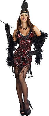 Dames Like US Erwachsene Kostüm Schwarz Pailletten Kleid Flapper Tanz 20er Sexy