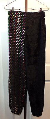 Vintage Black Pants Velvet Rainbow Dots Dance Clown Halloween Costume B75