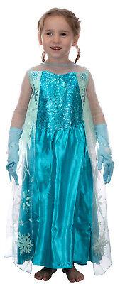 Kinder Kostüm Eiskönigin Prinzessin Elsa Schneeprinzessin-Handschuhe und Kleid