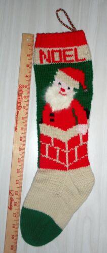Personalized Hand Knit Christmas Stocking-Santa & Chimney w/ANGORA-LEFT POINTING