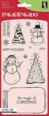 Inkadinkado Christmas Clear Stamps Sheet, Mason Jar Snowglob