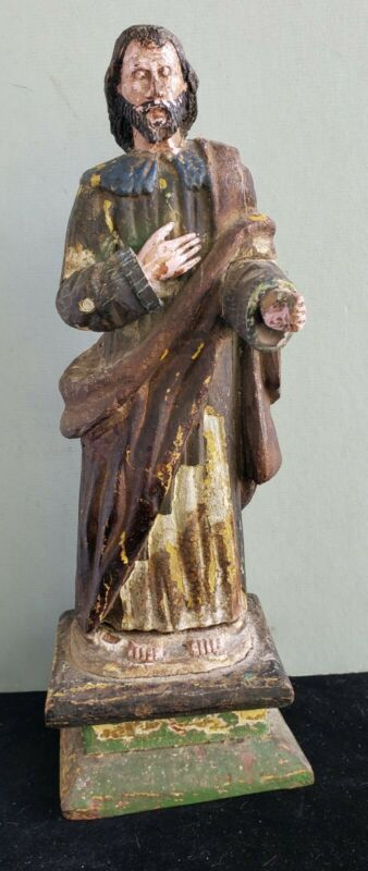 Antique Spanish Colonialism Polychrome Santos Carved Mahogany Wood Figure Saint