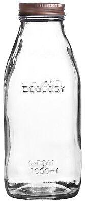 Set Mit 6 Glas Milch Flaschen mit Deckel 1litre Vintage Flasche Kupfer Deckel