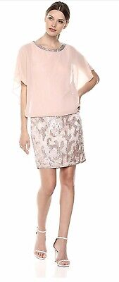 J Kara 360$ Women's Blouson Short Cocktail Prom Beaded Sequins Dress Sz16