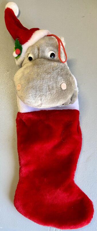 "Vintage HIPPO Hippopotamus 21"" Plush Christmas Stocking West World Trading Rare!"