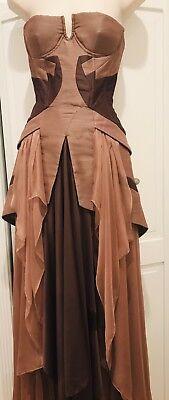 Jen Kao Dramatic Raw Silk Bustier Gown W Layered Silk Skirt US 0 MSRP $3420