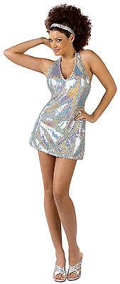 Women's Disco Ball Diva Sequin Mini Dress Adult Costume Small / Medium Sizes 2-8 - Disco Ball Costumes