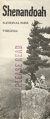 1958  USDOI Shenandoah National Park Virginia Visitor Brochure and Map Shenandoah National Park Map