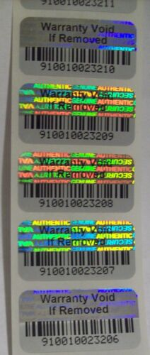WVIR 100 Warranty Void BARCODE Security Hologram Tamper Evident Stickers Seals