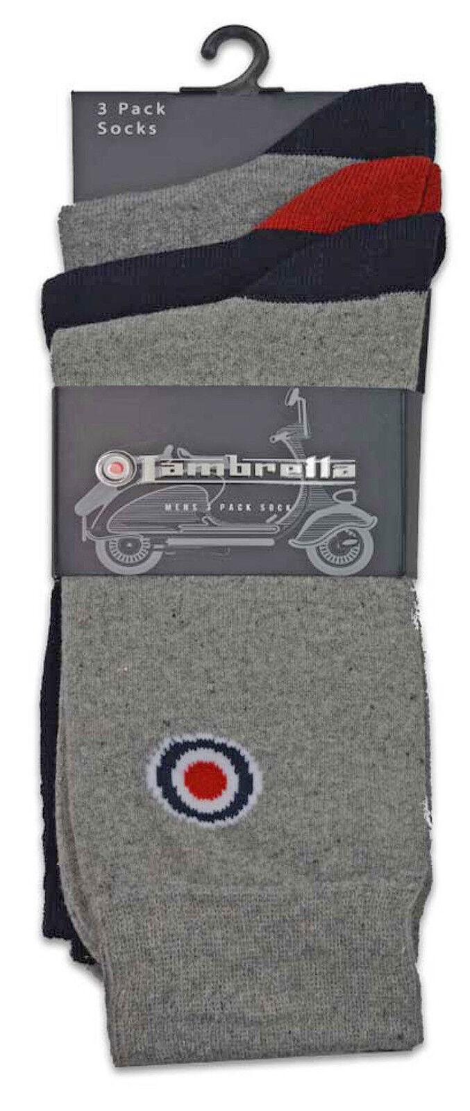 LAMBRETTA Calzini Da Uomo Cotone COPPIE 3 /& 5 PACK MOD Multi Colore Morbido UK 6-11