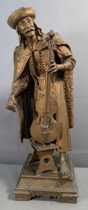 LG 19thC Antique VICTORIAN Era CELLO PLAYER Musician PARLOR SCULPTURE Old STATUE