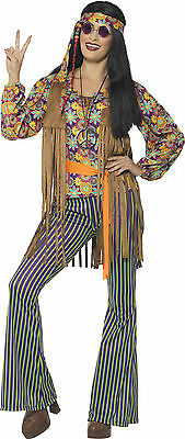 Groovy Hippie Lady Damenkostüm NEU - Damen Karneval Fasching Verkleidung Kostüm