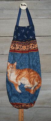 Orange Sock Holder (Orange Ginger Marmalade Cat Blue Plastic Grocery Bag Rag Sock Holder)