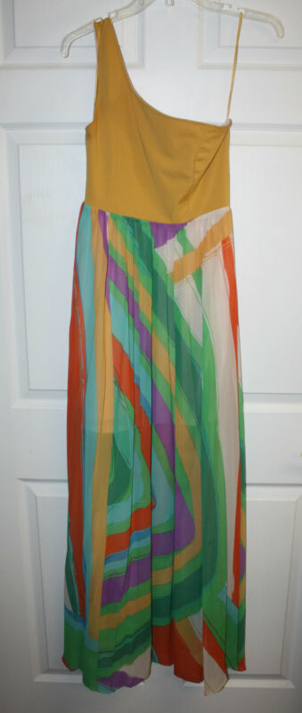 Womens Ladies Jealous Tomato One Shoulder Multi-Color Maxi Dress Size Small