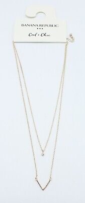 Delicate New V Necklace with Rhinestone Solitaire by Banana Republic #BRN42