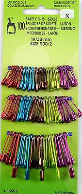 100 Sicherheitsnadeln 19/22/28/38 farbig - Metallic-Farben - rostfrei