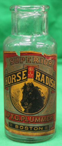Late 1800s Superior Horse Radish J.P. & D. Plummer Boston Bottle w/Paper Label
