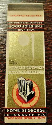 Vintage Matchcover: Hotel St. George, Brooklyn, NY 1939 Worlds Fair YY