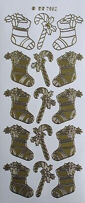 Christmas Stockings PEEL OFF STICKERS Stocking Candy Canes Holly Gold or Silver (Gold Christmas Stockings)