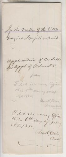 1880 DOCUMENT - APPLICATION TO PROBATE COURT - LINCOLN TERRITORY CNTY NEW MEXICO