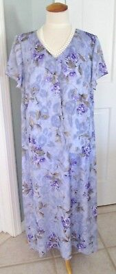 Coldwater Creek Lilac Floral Print Long Dress Women 18W Attached Jacket Wedding
