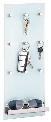 Glas Schlüsselleiste mit Ablage - 9 Metall Haken - Schlüsselbrett Schlüsselboard