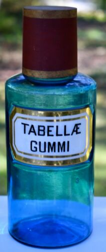 Rare Label Under Glass 19th Century French Apothecary Bottle