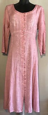 NEW Women's Acid-Wash Dress Victoria Rose Pink Viscose Button Down Soft- Paragon