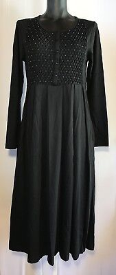 NEW! Black Cotton Jersey Dress Smocked Beaded Pleated Inseam Pockets The Paragon