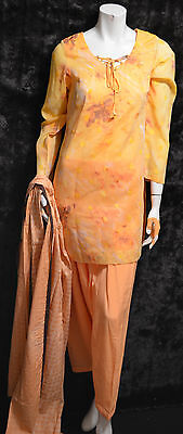 Cotton Embossed Fabric Pakistani Indian Shalwar Kameez Yellow Orange S 3 Pcs