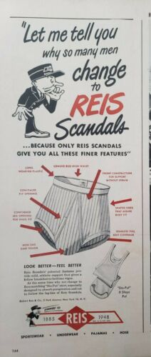 Vintage 1948 Mens Underwear Print Ad Ephemera Wall Art Decor Reis Jockey