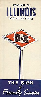1956 D X Oil Co Road Map Illinois Route 66 Rockford Peoria Chicago Springfield