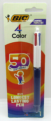 Bic 4 Color Classic Ball Pen 50th Birthday Black Blue Red Purple 5025202