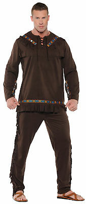 ADULT MENS NATIVE AMERICAN INDIAN BRAVE CHIEF FRONTIER COSTUME BROWN SHIRT PANTS