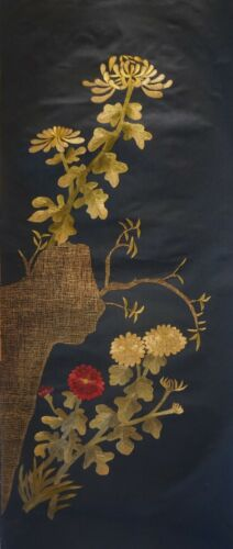 Very Fine Early 1900 Korean Embroidery Needle Work Flowers on a Cliff