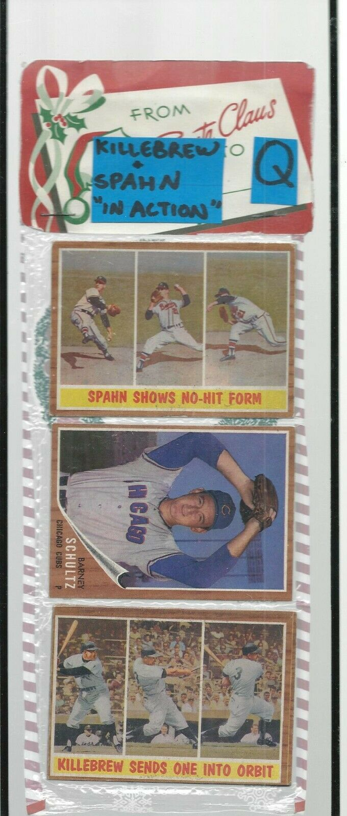 1962 TOPPS RACK PACK FEATURING SPAHN SHOWS NO HIT, KILLEBREW SENDS ONE IN ORBIT - $125.09