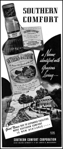 1944 Southern Comfort liqueur Riverboat colonial home vintage art print ad L81