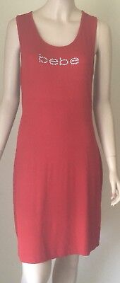 NWT Bebe Sleeveless Ribbed Knit Dress L Crystals Crossback Chili Pepper Red $79